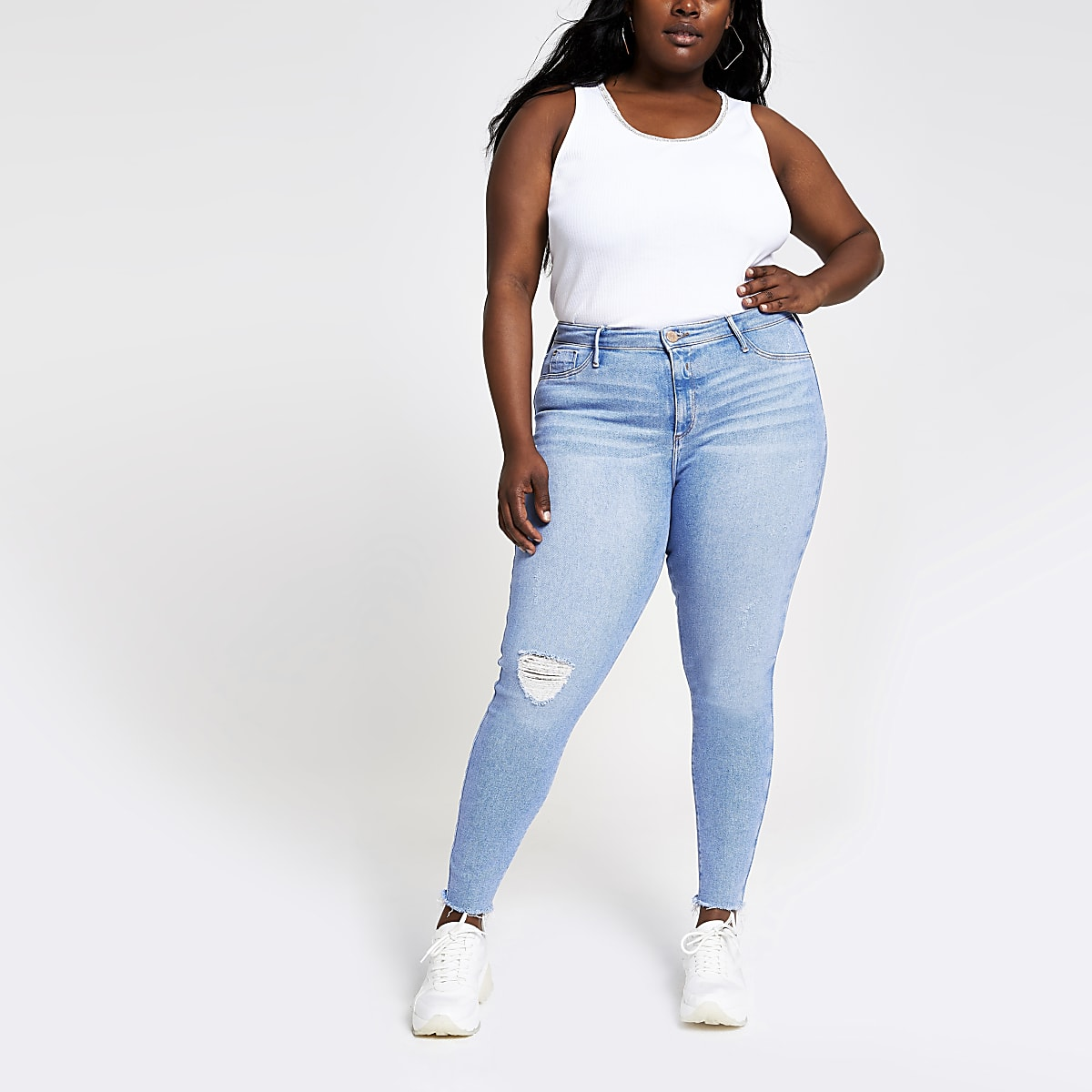Plus light blue Molly ripped jeggings