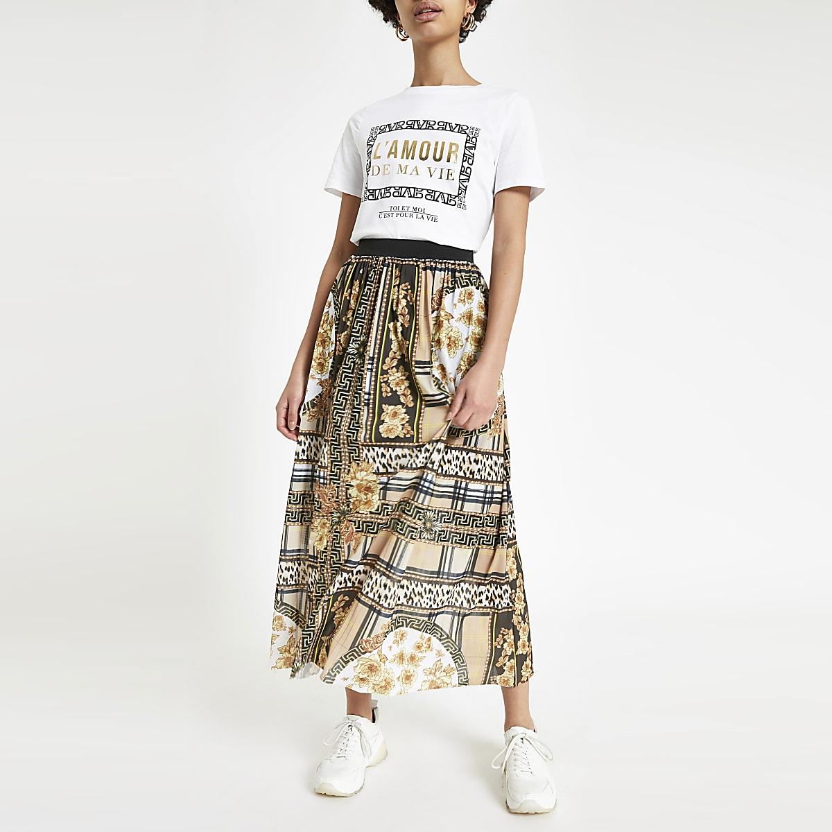 Brown scarf print pleated midi skirt