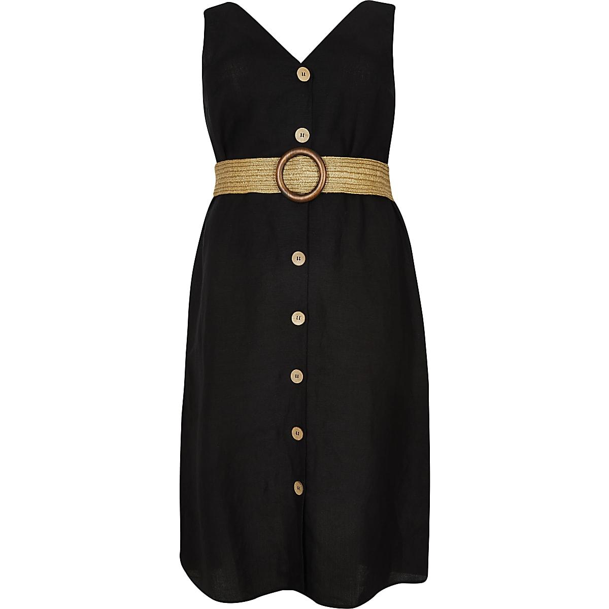 Plus black belted linen midi dress