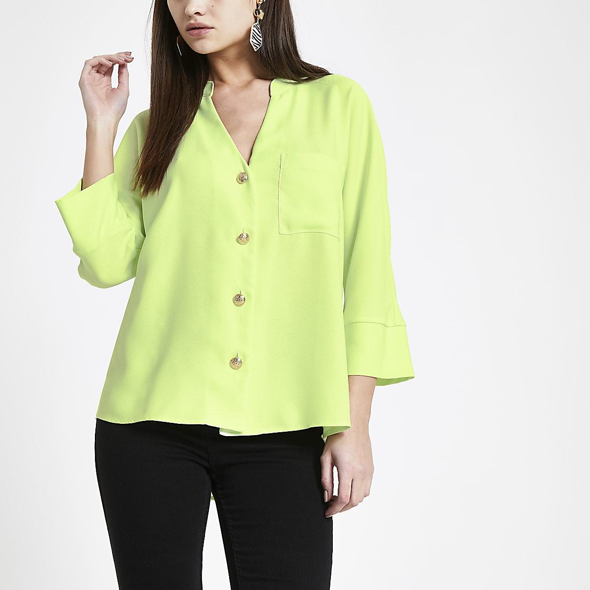 Limoengroen overhemd met lange mouwen