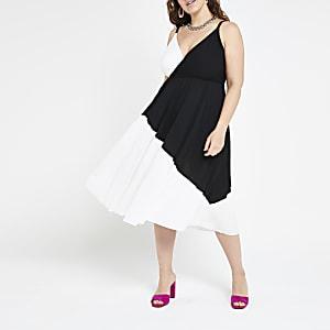 Plus white colour block wrap cami dress