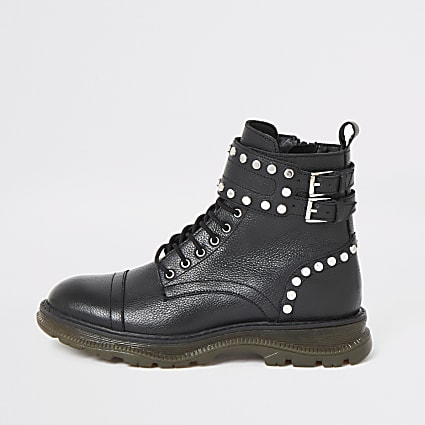 Black leather studded lace-up hiking boots