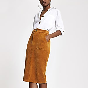 Brown cord utility pencil skirt