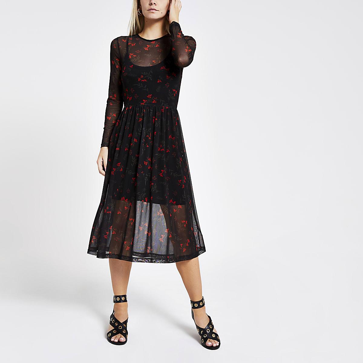Black floral mesh pleated dress