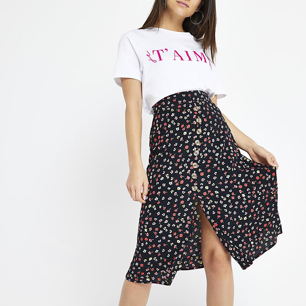 Petite black ditsy floral midi skirt
