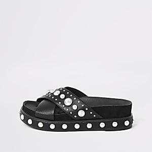 Black studded flatform sandals