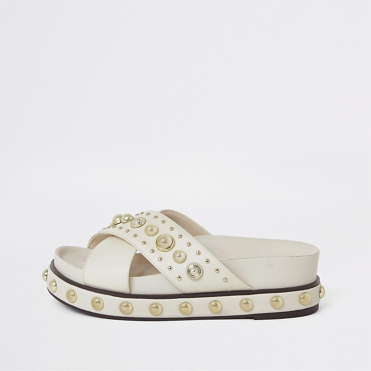 White studded flatform sandals