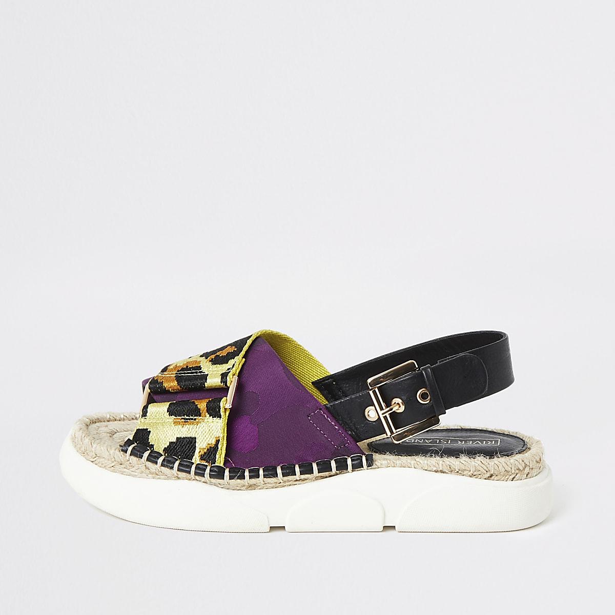 Gele flatform slippers met print en dikke zool