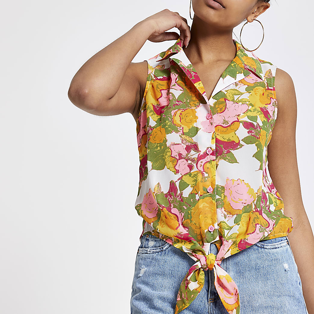 Pink and yellow print tie knot top