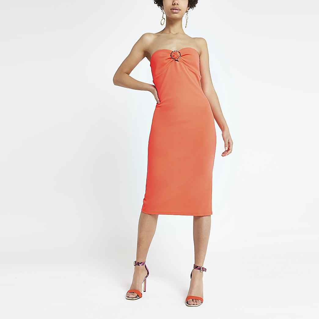 Bright orange bandeau midi dress