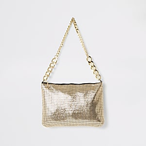 Gold embellished shoulder bag