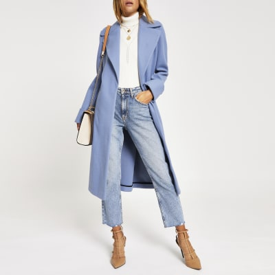 Light Blue Longline Coat by River Island