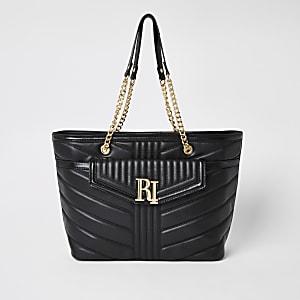 Zwarte doorgestikte schoudertas met RI-logo en vakje