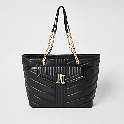 Black quilted RI pocket shoulder bag