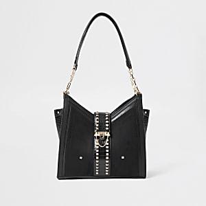 Zwarte schoudertas met studs