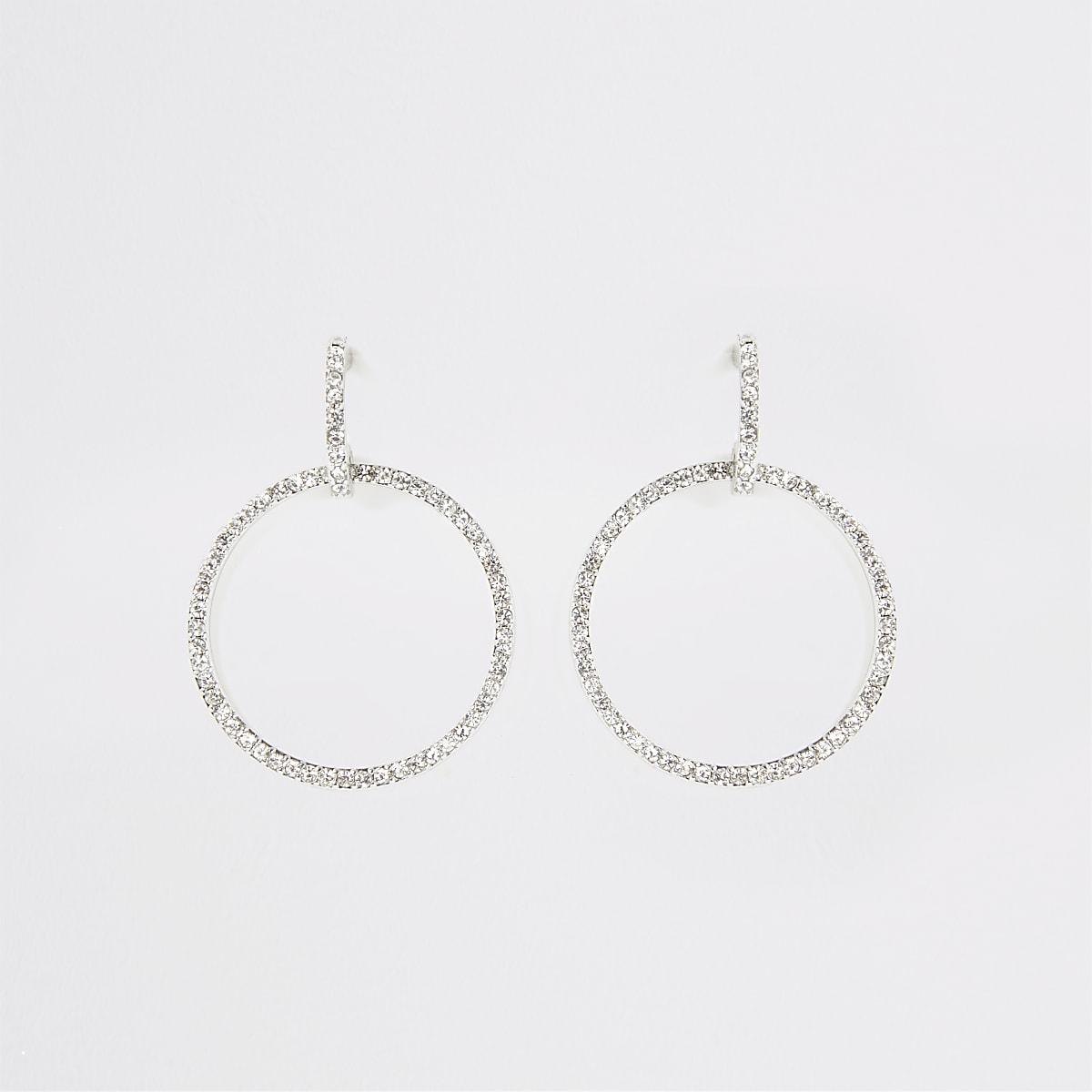 Silver colour diamante ring earrings