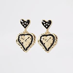 Gold colour heart drop earrings