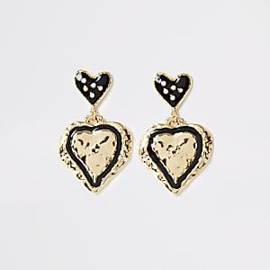 Goudkleurige hartvormige oorhangers
