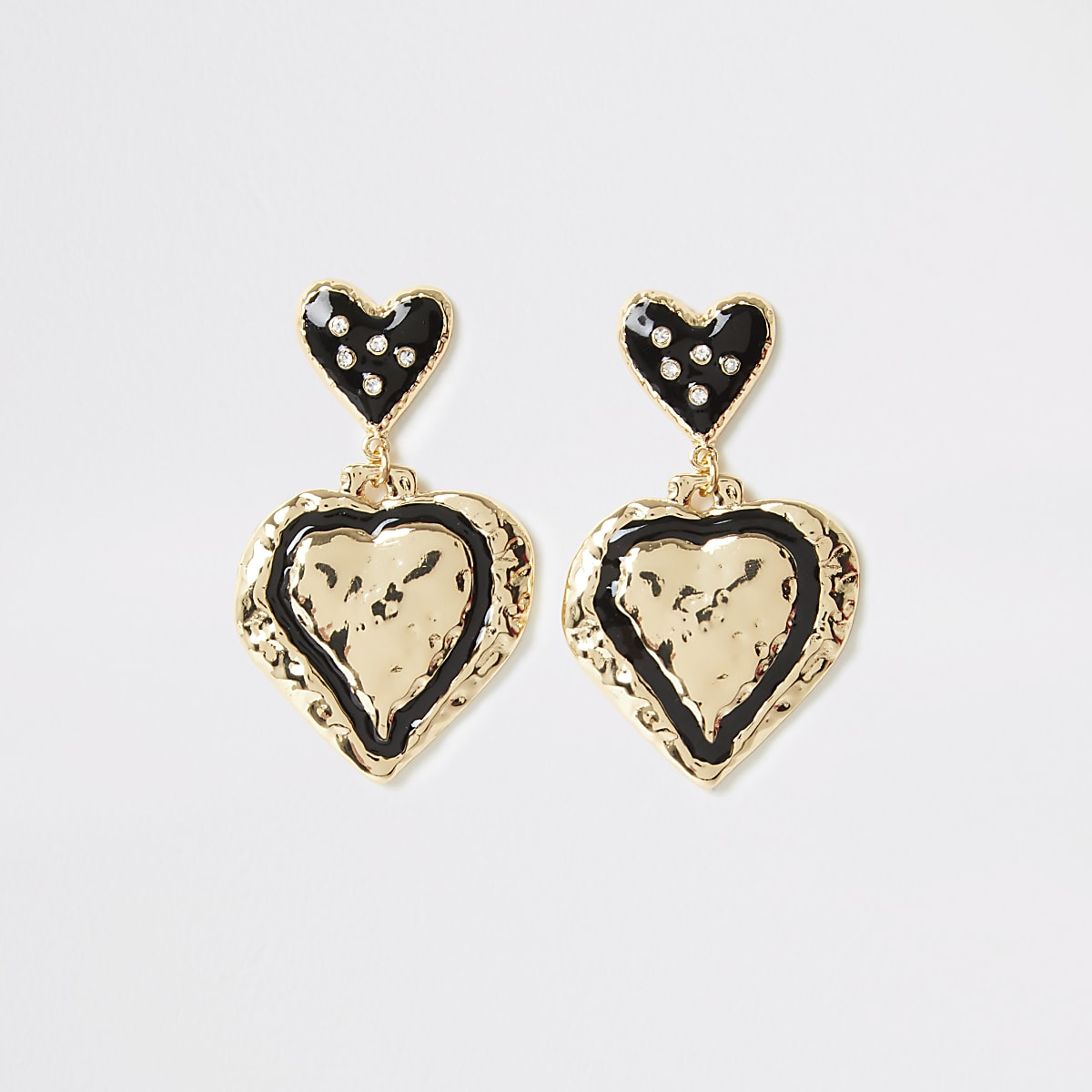 Gold color heart drop earrings