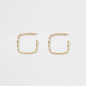 Gold colour square textured hoop earrings
