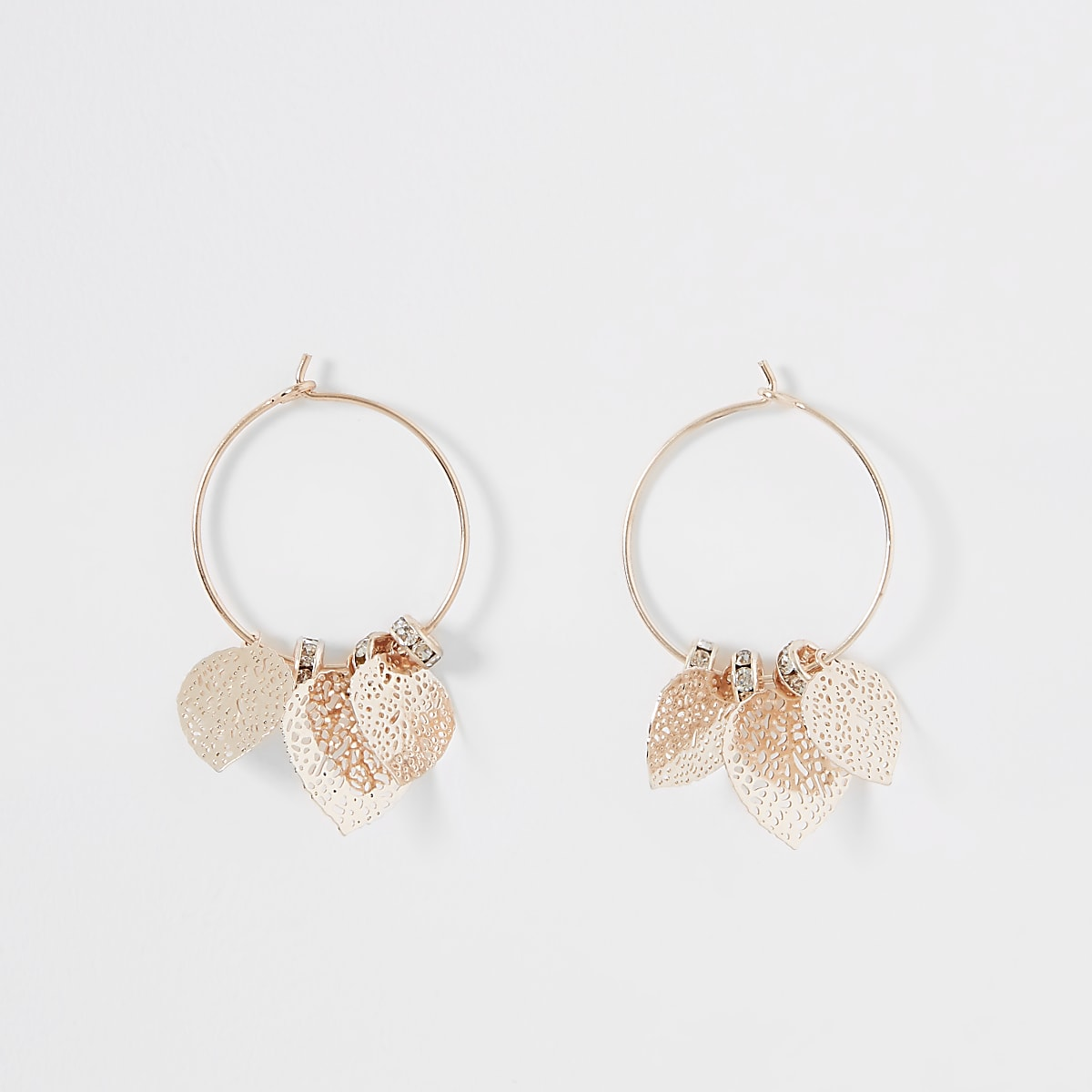 Orange flower hoop earrings