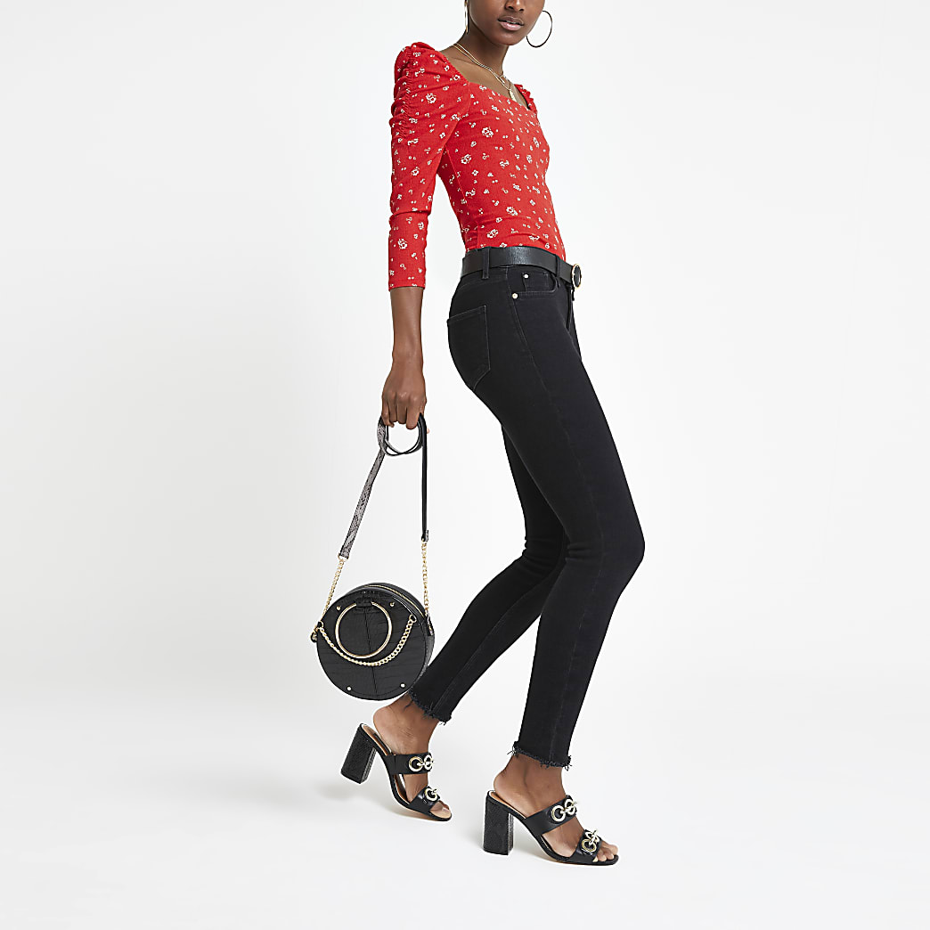 Red print fitted square neck top