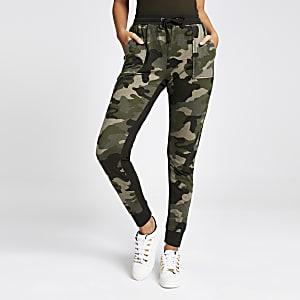 Pantalon de jogging camouflage kaki à taille haute
