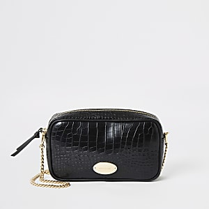 Black croc embossed cross body bag