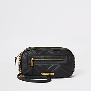 Black double zip cross body bag