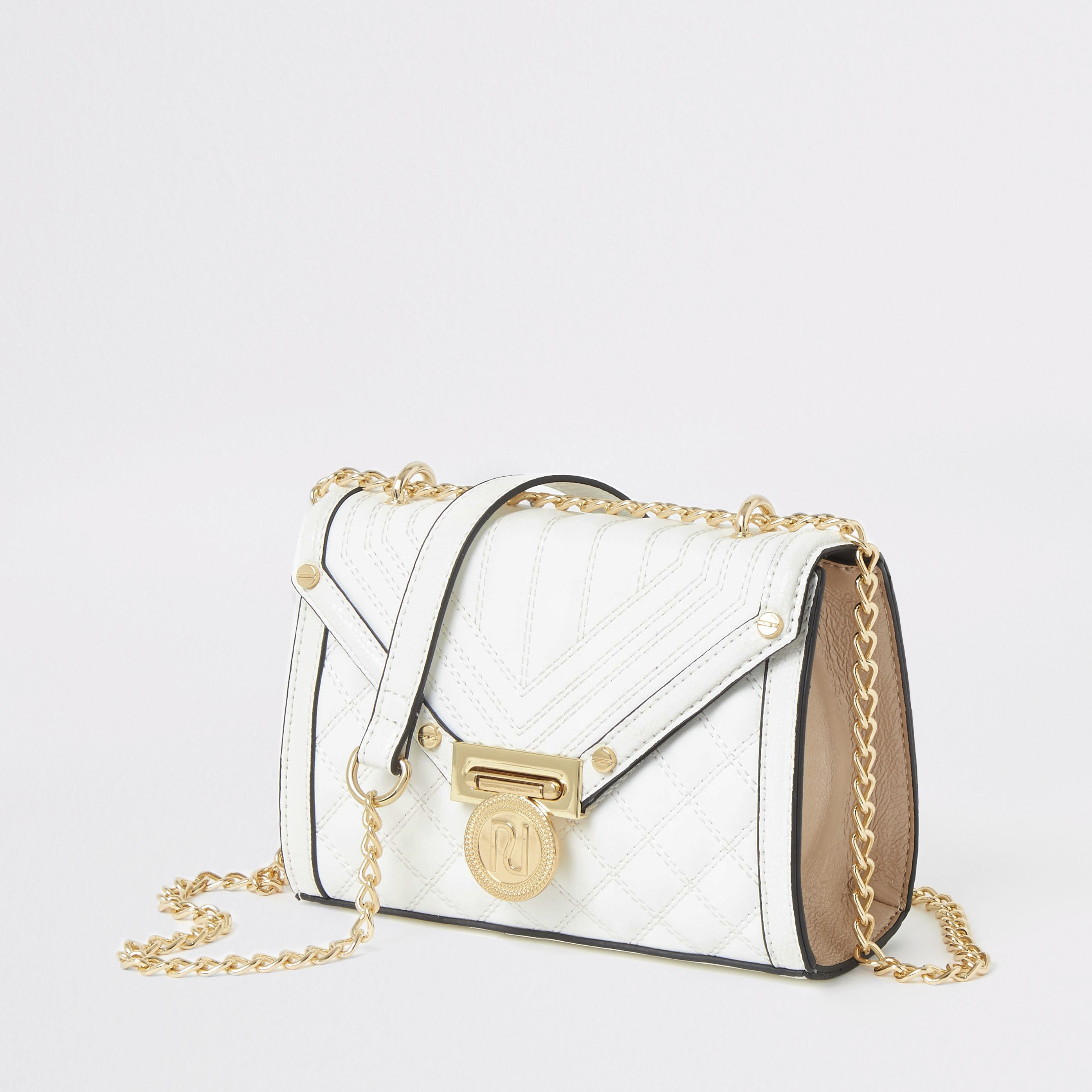 RIVER ISLAND | Womens White Quilted Cross Body Bag | Goxip