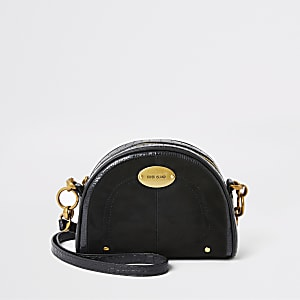 Black croc embossed circle cross body bag