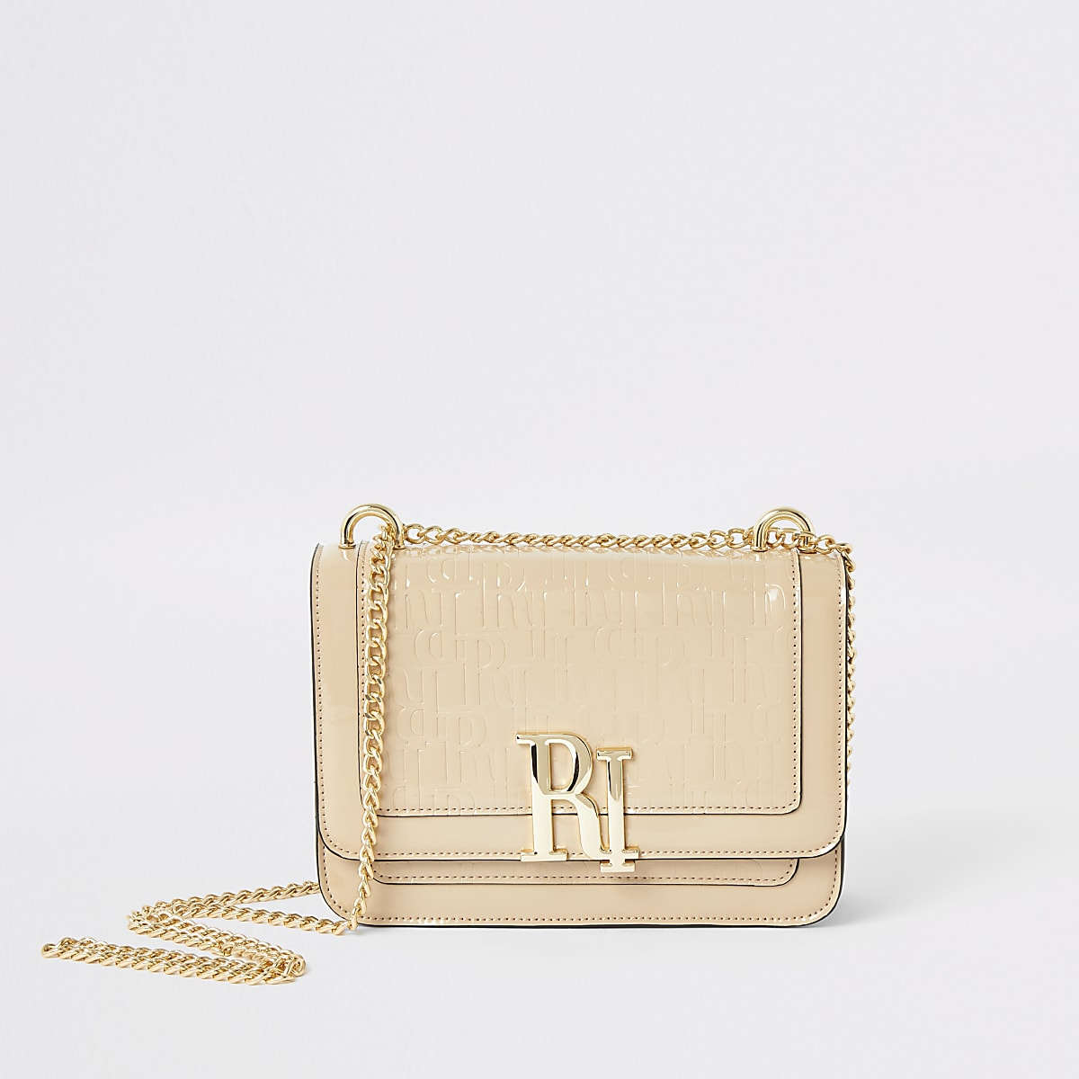 Light beige RI embossed underarm bag