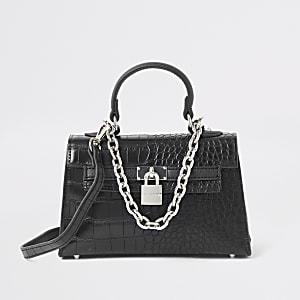Black croc mini tote bag