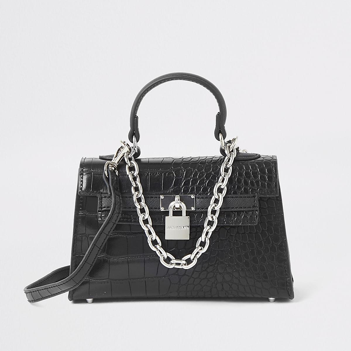 Zwarte kleine handtas met krokodillenprint