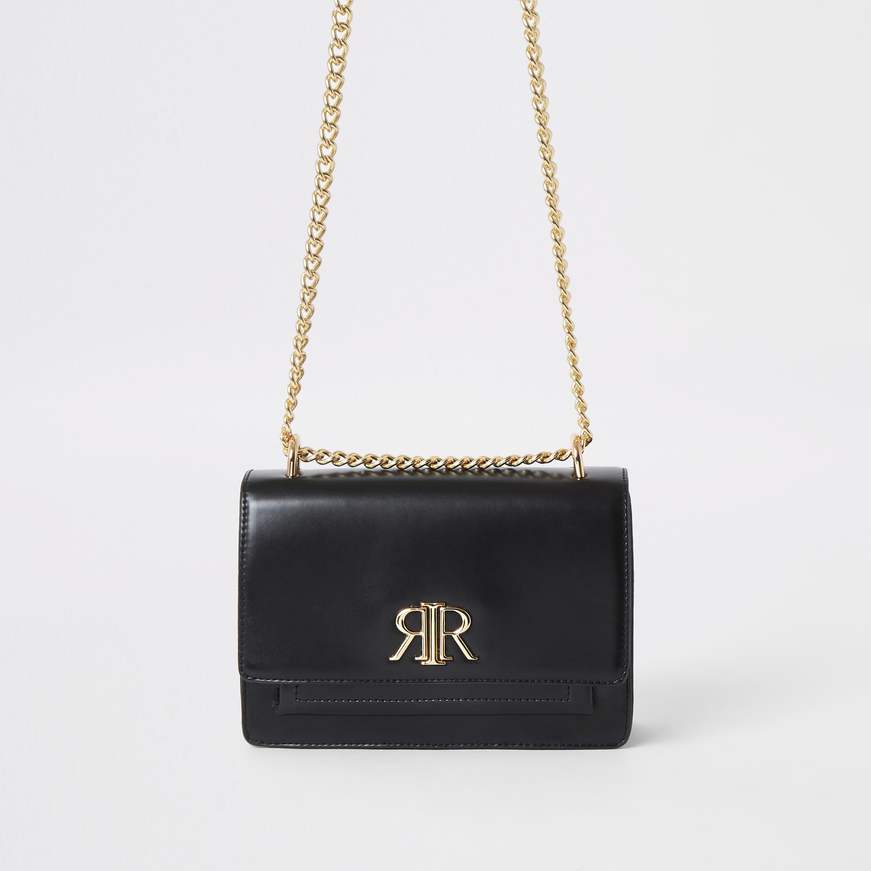 RIVER ISLAND | Womens Black RI Underarm Bag | Goxip