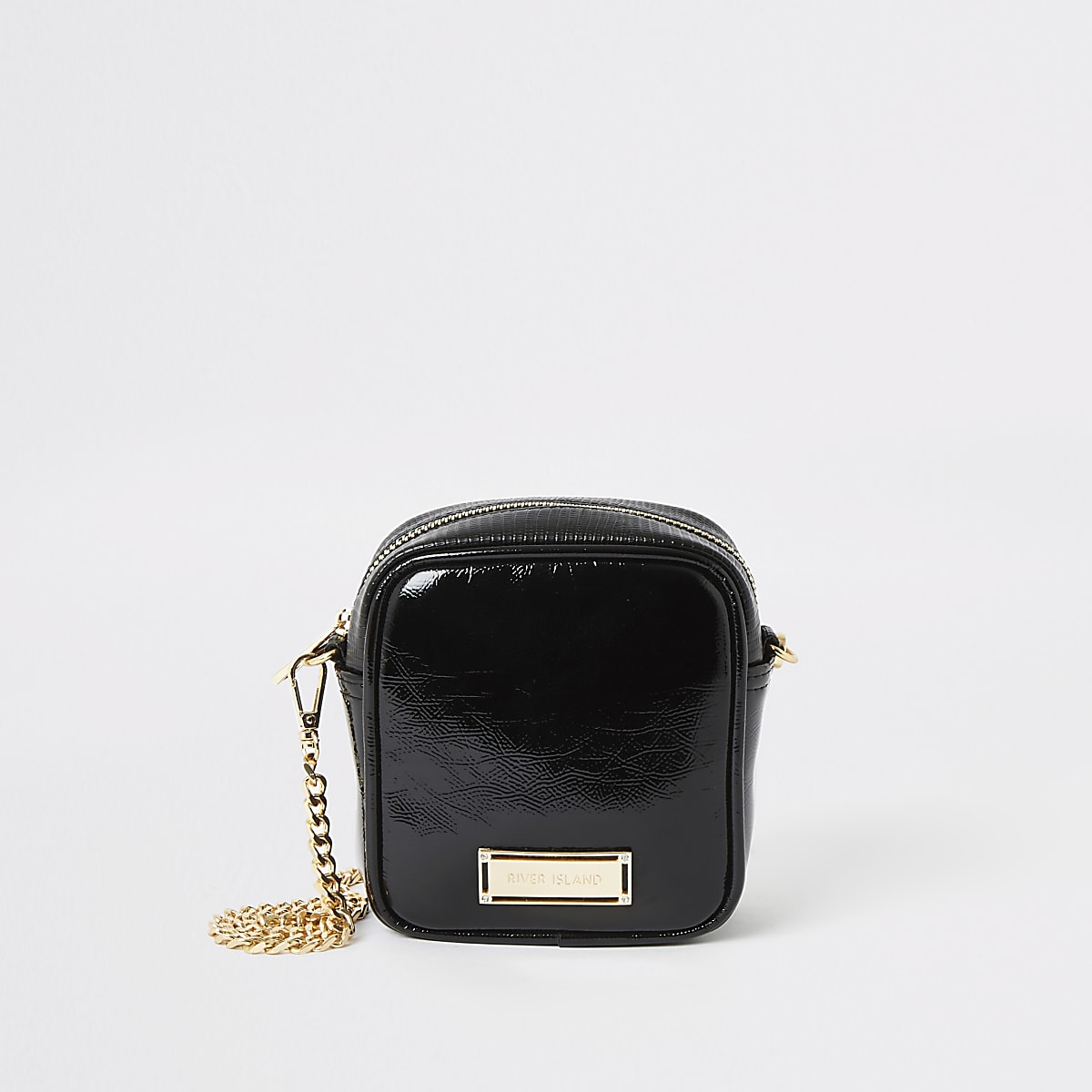 Black mini square cross body bag