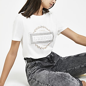 White diamante printed T-shirt