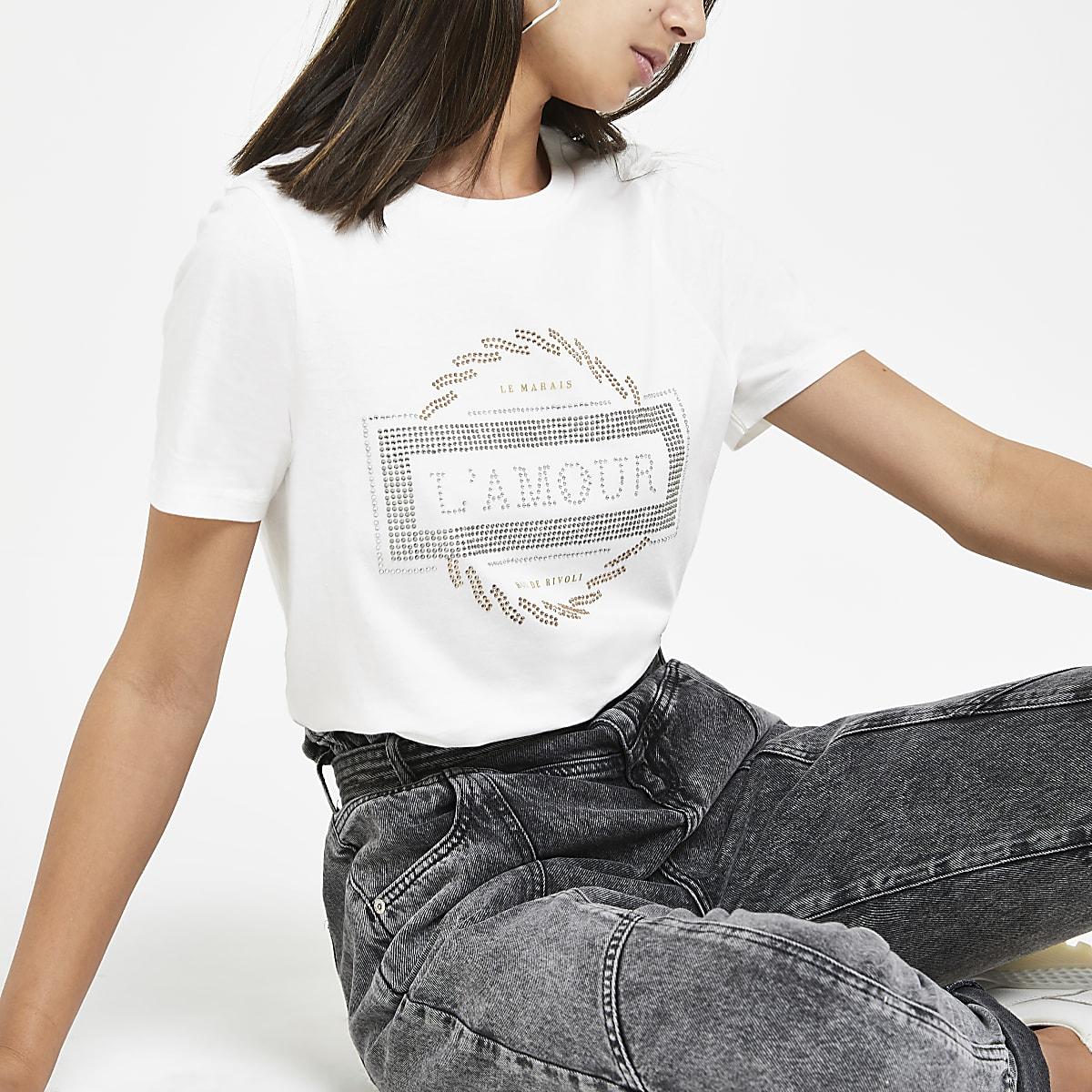 White rhinestone printed T-shirt