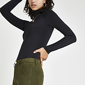 Black slinky long sleeve roll neck top