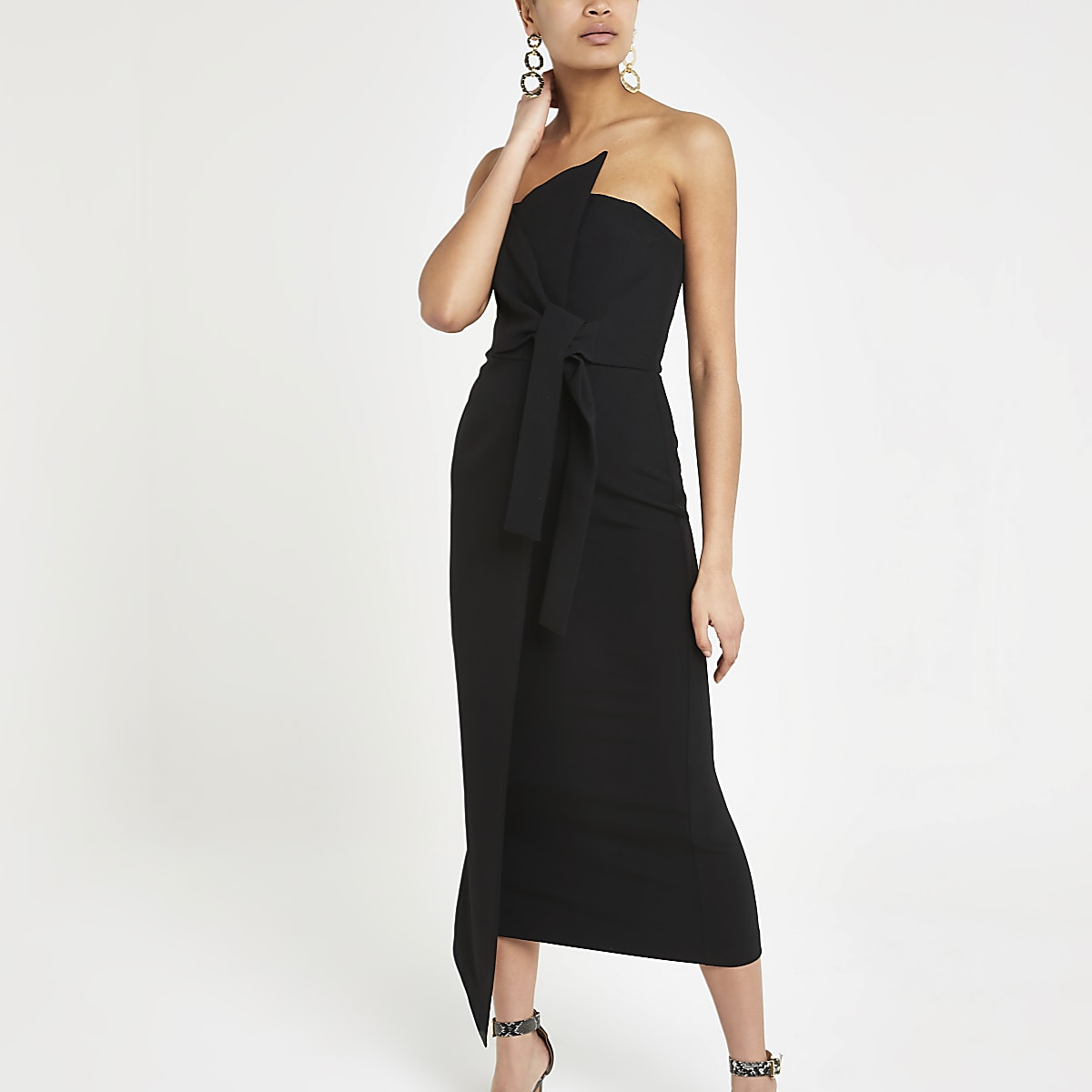 Black bandeau bodycon maxi dress