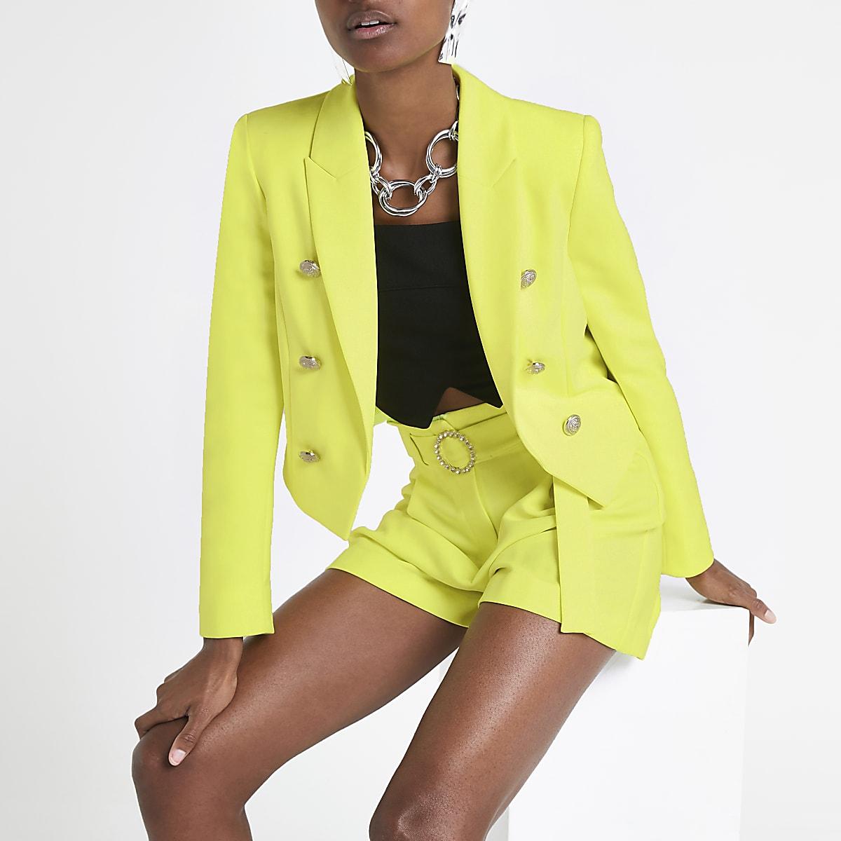 Neon yellow cropped blazer