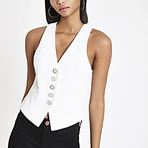 White diamante waistcoat