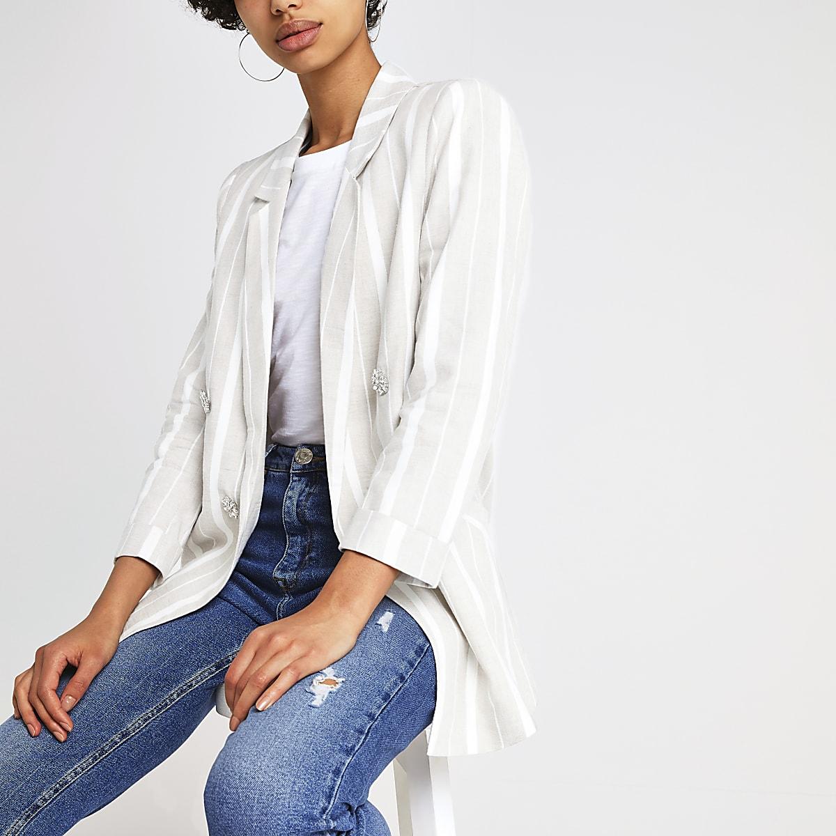 Beige stripe jewel embellished blazer