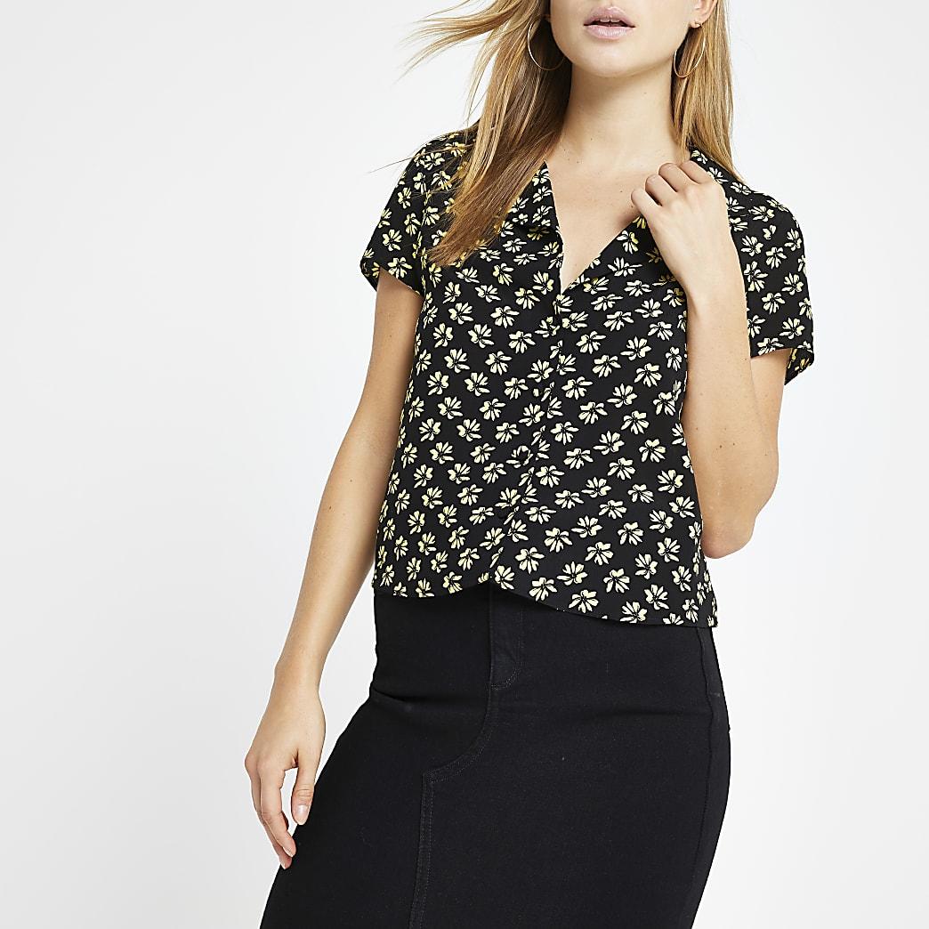 Zwart cropped overhemd met fijne print