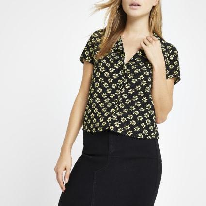 Black ditsy print crop shirt