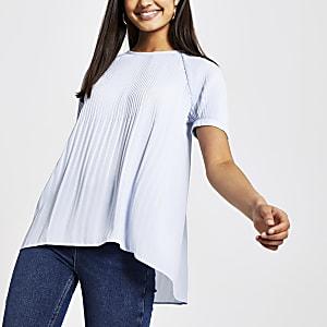 Blauwe plissé top met korte mouwen