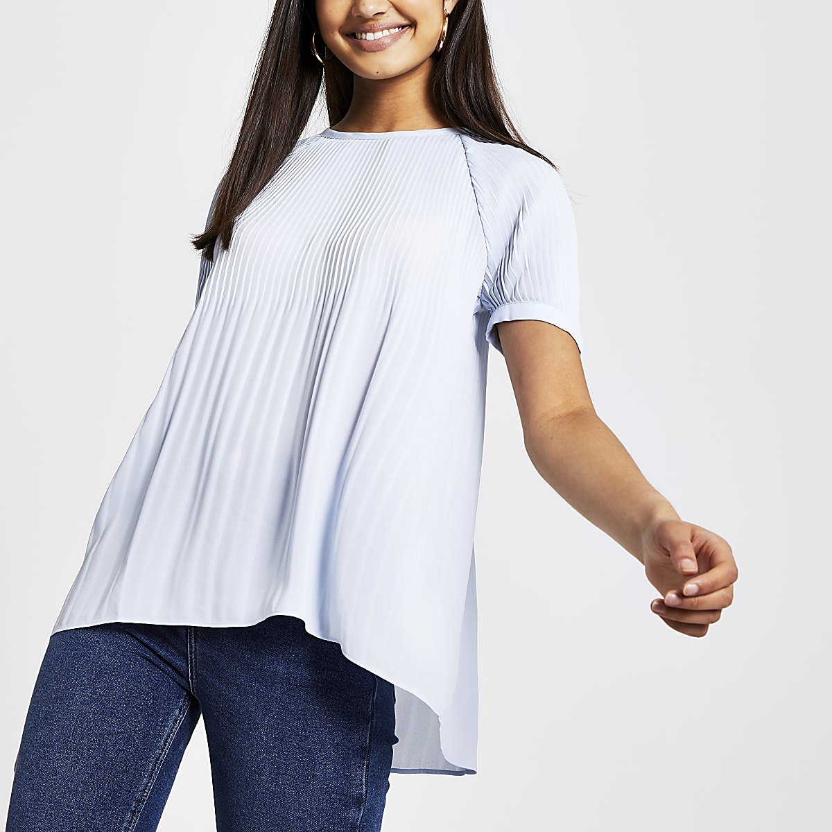 Blue plisse short sleeve top