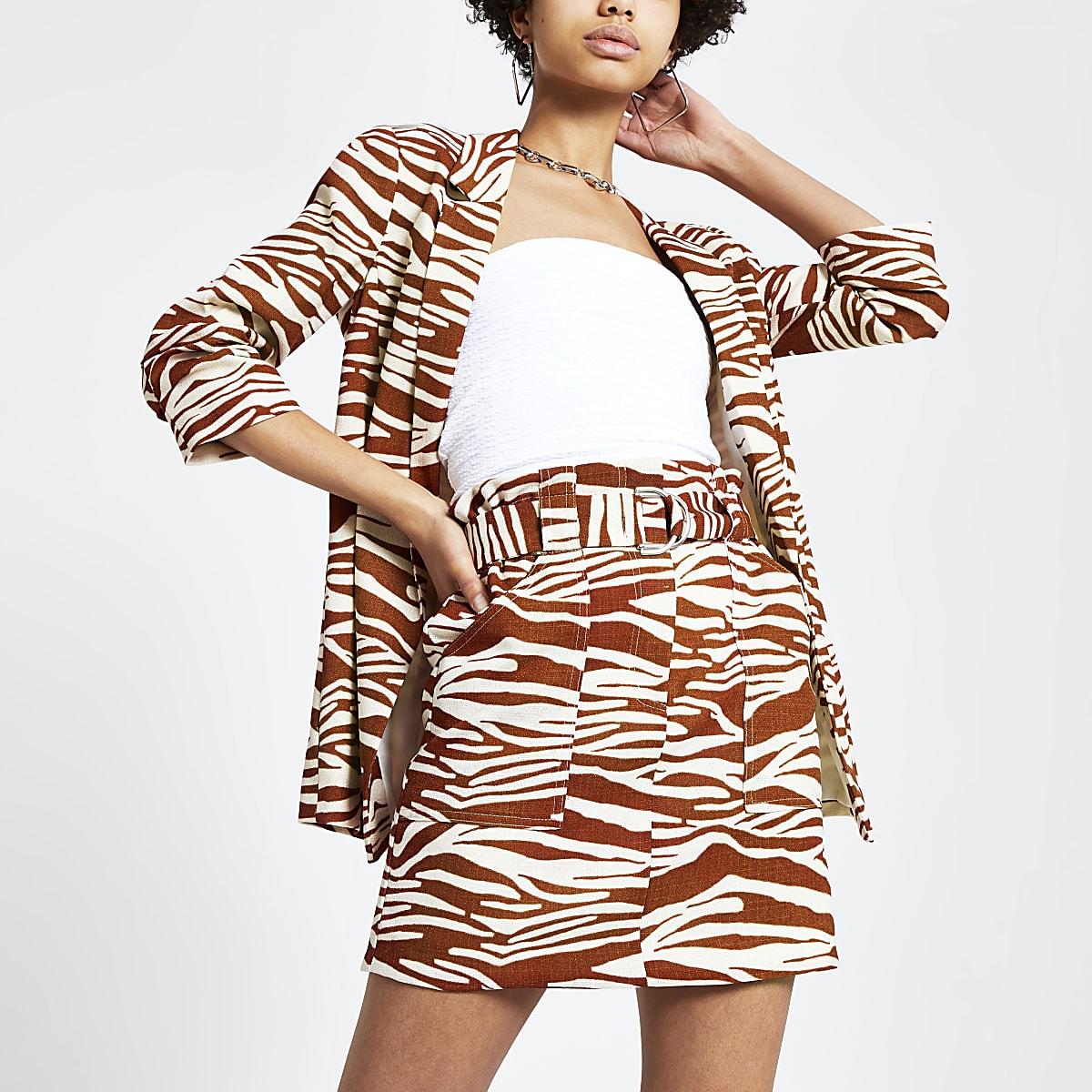 Brown zebra print mini skirt