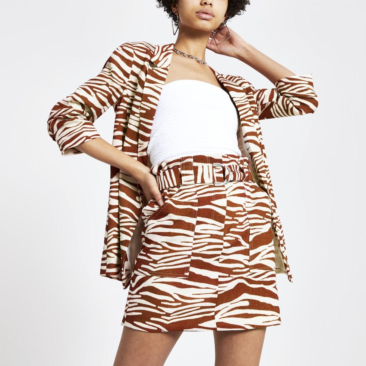 Mini-jupe à imprimé zèbre marron