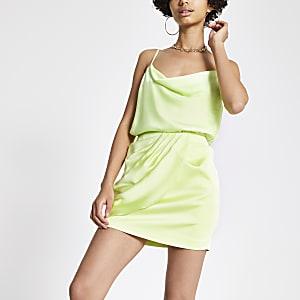 Mini jupe portefeuille vert citron